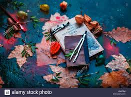 rainy autumn still life with books fallen leaves drawing pes papers and water