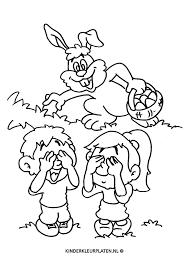 Kleurplaat Paashaas Eieren Verstoppen Feestdagen