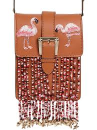 red valentino flamingo leather bag w beaded fringe tan pink women bags shoulder