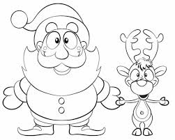 Small Picture Christmas Coloring Pages Santa And Reindeer Coloring Coloring Pages