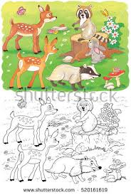 Small Picture Cute Woodland Animals Cute Deer Badger Stock Illustration
