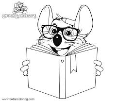 Chuck E Cheese Coloring Pages Reading With Glasses Free Printable