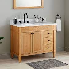 42 Trossman Vanity For Left Offset Undermount Sink White Oak Bathroom