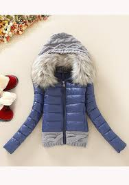 dark blue patchwork fur hooded zipper long sleeve fashion coat outerwears tops