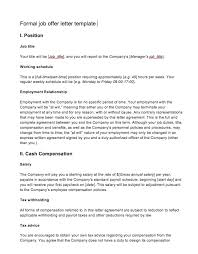 Formal Job Offer Template Job Offer Letter From Employer To Employee Top Form