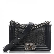 CHANEL Lambskin Quilted Small Chain Mail Boy Flap Black 191728 &  Adamdwight.com