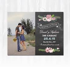 Print Save The Date Cards Spanish Save The Date Magnet Or Card With Pink Flowers And Photo Diy