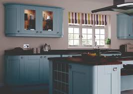 Blue Kitchen Decorating Kitchen With Glass Cabinets