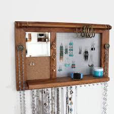 Wall Jewelry Organizer All In One Jewelry Rack Wooden Wall Hanging Jewelry Shelf With