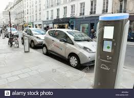 Autolib Electric Cars Charging Station Paris Street Stock Photo