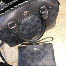Coach small satchel and wristlet - blue signature