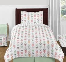 sweet jojo grey pink mint white rustic woodland arrow girls kid twin bedding set