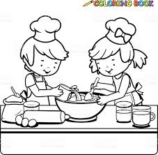 Small Picture Children Cooking Coloring Book Page stock vector art 533190981