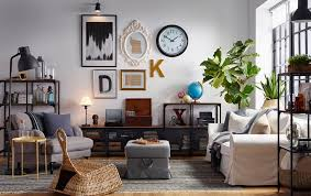 Industrial style furniture Ebay Eclectic Living Room With Gallery Wall And Industrial Style Wood And Metal Shelving Ikea Industrial Looks For Your Living Room Ikea