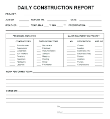 Subcontractor Daily Report Template Daily Work Report Templates