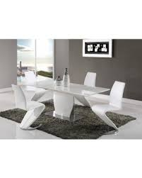 Global Furniture White High Gloss MDF/Metal Dining Table (Dining Table White  - High