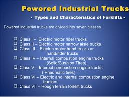 Forklift Classifications Chart Powered Industrial Trucks Safety