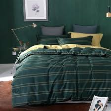 dark green stripes print bedding set cotton fabric queen king size duvet cover pillowcase measurements ikea