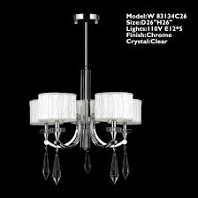 worldwide lighting w83134c26 cutlass 5 light arm chrome finish and clear crystal chandelier with white fabric shade