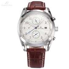 popular mens watch leather band white face buy cheap mens watch ks imperial series white dial silver case round face date day calendar brown leather band men