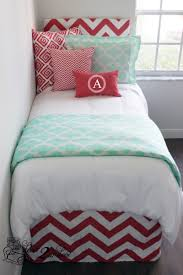 Dorm Bedding Decor Coral Chevron Mint Quatrefoil Designer Dorm Bedding Set Decor