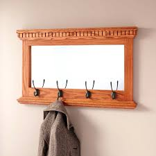 classic coat rack mirrored solid oak with double hooks hardware racks
