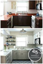 white countertop paint budget kitchen makeover faux marble painted with the white diamond white granite countertop