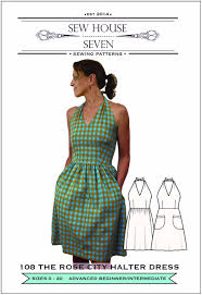 The Rose City Halter Dress Sewing Pattern Sew House Seven