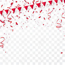 Confetti Red And Flag Ribbons Celebration Background Template