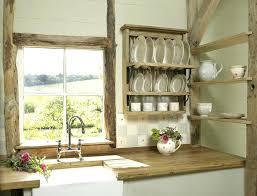 kitchen shabby chic design wood rack for plate with floating shelves traditional wooden and 3 hole