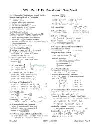 spsu math 1113 precalculus cheat sheet pdf pdf
