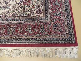8 x 11 vintage machine made belgium rug synthetic wool kurdamir kashan ivory 10