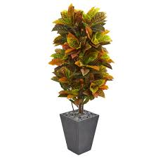 artificial plants for office decor. Croton Artificial Plant In Slate Planter (Real Touch) Plants For Office Decor I