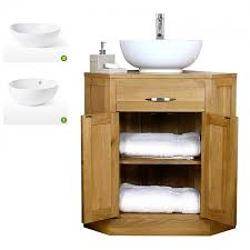 oak corner vanity unit with basin