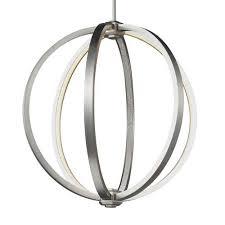 mill mason luminarian satin nickel 20 inch led globe pendant