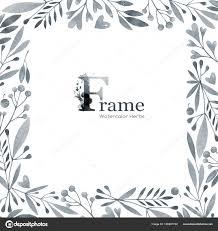 手描きの水彩画花とハーブの正方形のフレームオリジナルの手描き