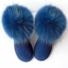 <b>G&Zaco Luxury Natural</b> Dark Blue Fox Fur Snow Boots Cow Suede ...
