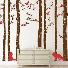 fox and birch tree wall decal 2 colors