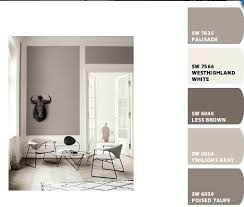 Sherwin Williams Twilight Gray- to go with poised taupe color palate main  floor- less brown accent wall?