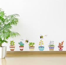 pot plant flower bee home decal wall stickers removable mural art