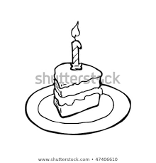 Drawing Slice Birthday Cake Stock Vector Royalty Free 47406610