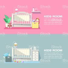 Baby Mädchen Und Jungen Zimmer Modernes Interieur Vektor Banner