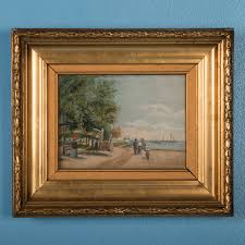 antique oil painting on canvas family at the beach