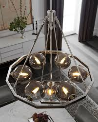 harper 7 light chandelier in polished nickel with plated smoke round shade