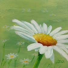 daisy on green original acrylic painting