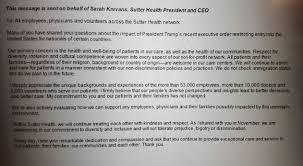 Sutter Health Ceo Sends Anti Trump Propaganda To All