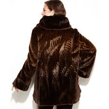 lyst jones new york faux fur coat in brown