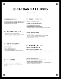 Black And White Border Frame Minimalist Resume Templates