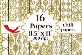 Gold Damask Background Gold Damask Paper Damask Pattern A4 Papers 8 5x11 Inches