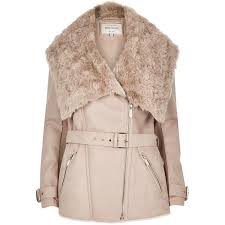grey padded wool belted faux fur collar coat coats jackets